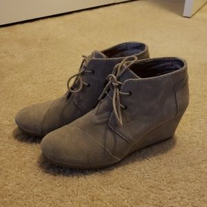 Tan Toms Wedge Booties